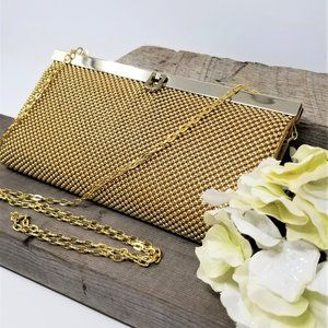 Gold Beaded Clutch/Crossbody Purse by La Regale